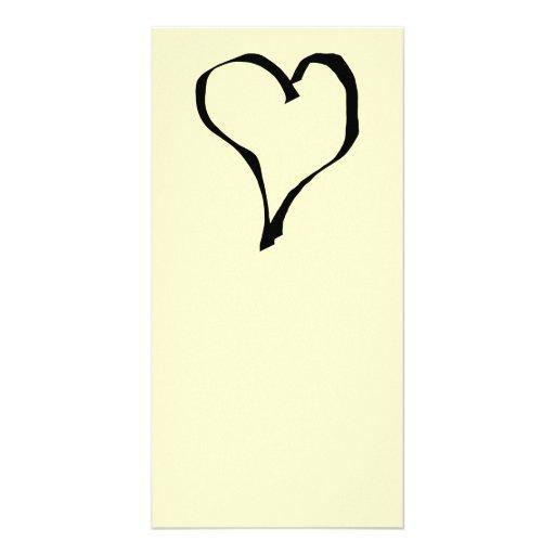Black and Cream Love Heart Design. Photo Card