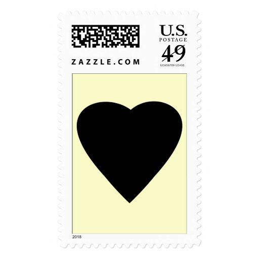Black and Cream Love Heart Design. Postage