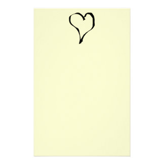 Black and Cream Love Heart Design. Stationery