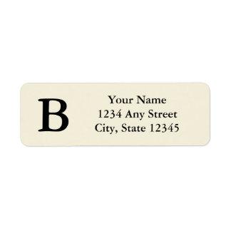 Black and Cream Monogrammed Return Address Labels