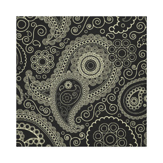 Black And Cream Paisley Canvas Print