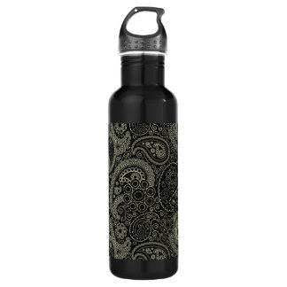Black And Cream Paisley Stainless Steel Water Bottle
