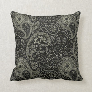 Black And Cream Paisley Throw Pillows