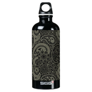 Black And Cream Paisley Water Bottle