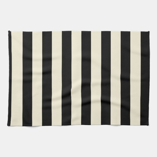 Black and Cream Stripes Hand Towel Zazzle