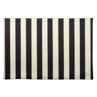 Black and Cream Stripes Placemat