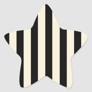 Black and Cream Stripes Star Sticker