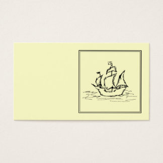 Black and Cream. Tall Ship. Sailing Ship. Business Card