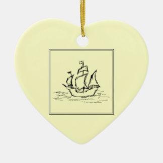 Black and Cream. Tall Ship. Sailing Ship. Ceramic Ornament
