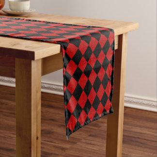 Black and crimson red diamond checker pattern short table runner