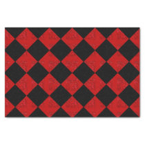 Black and crimson red diamond checker pattern tissue paper