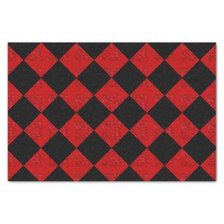 Black and crimson red diamond checker pattern tissue paper