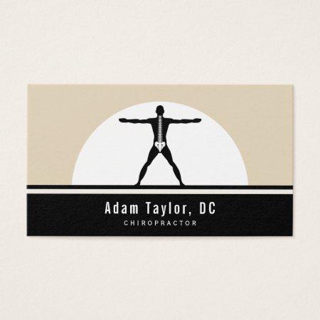 Black and Beige Vitruvian Man Chiropractor Alternative Medicine Business Cards