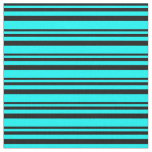 [ Thumbnail: Black and Cyan Colored Lined/Striped Pattern Fabric ]