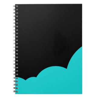 Black and cyan spiral notebook