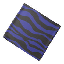 Black and Dark Blue Zebra Striped Design Bandana
