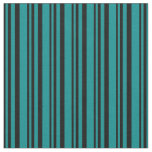 [ Thumbnail: Black and Dark Cyan Stripes/Lines Pattern Fabric ]