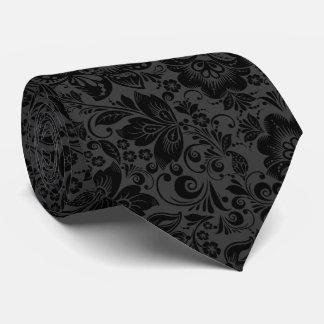 Black And Dark Gray Vintage Flowers Pattern Tie