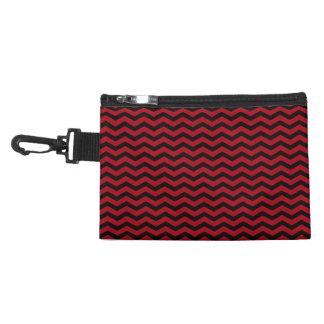 Black and Dark Red Chevron Stripe Accessories Bag
