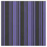 [ Thumbnail: Black and Dark Slate Blue Lines Fabric ]