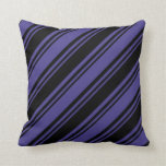[ Thumbnail: Black and Dark Slate Blue Lines Throw Pillow ]