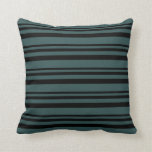 [ Thumbnail: Black and Dark Slate Gray Pattern of Stripes Throw Pillow ]