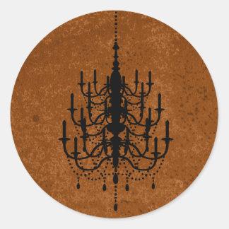 Black and Deep Gold Chandelier Wedding Seal Classic Round Sticker