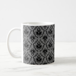 Black and Deep Gray Damask Design. Coffee Mugs