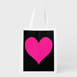 Black and Deep Pink Cute Heart Shape Grocery Bag