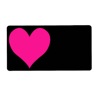 Black and Deep Pink Cute Heart Shape Label