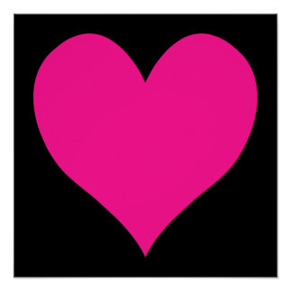 Black and Deep Pink Cute Heart Shape Poster