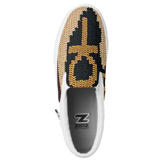 Black and Earth Tone Light Brown Ankh Crochet Slip-On Sneakers