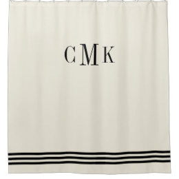 Black And Ecru Sophisticated Stripes And Monogram Shower Curtain