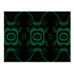 Black and Emerald Green Flower Design. Post Card