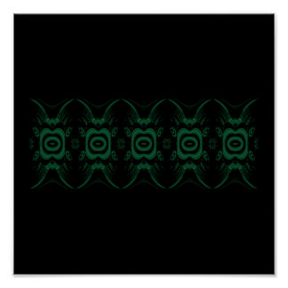 Black and Emerald Green Flower Design. Poster