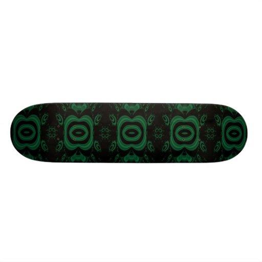Black and Emerald Green Flower Design. Skate Board Deck