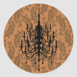 Black and Fall Leaves Chandelier Wedding Seal Classic Round Sticker