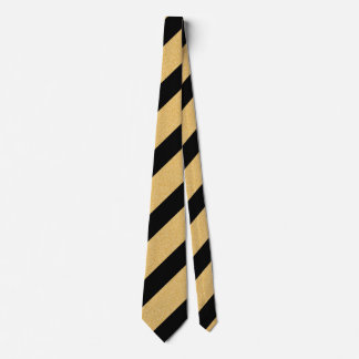 Black and Faux Glitter Gold Diagonal Stripes Tie