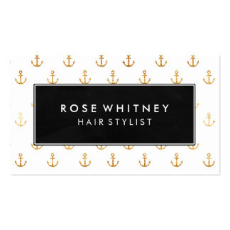 Black and Faux Gold Anchors Business Card
