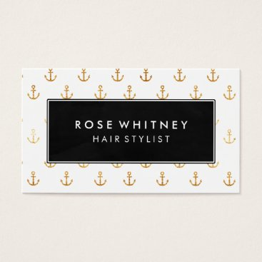 Professional Business Black and Faux Gold Anchors Business Card