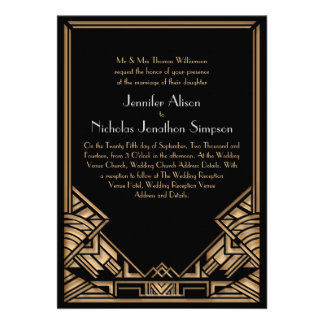 Black and Faux Gold Art Deco Gatsby Style Wedding Personalized Announcement
