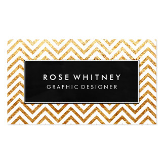 Black and Faux Gold Chevron Business Card
