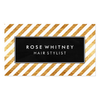Black and Faux Gold Diagonal Stripes Business Card