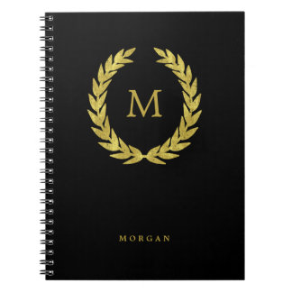 Black and Faux Gold Laurel Wreath with Initial Notebook
