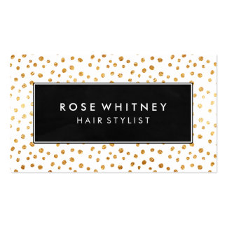 Black and Faux Gold Messy Dots Business Card