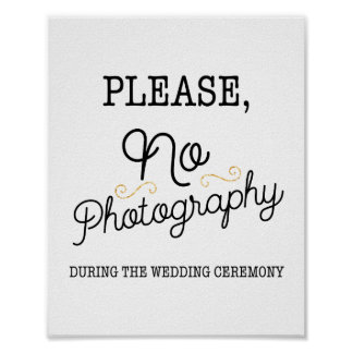 Black and Faux Gold No Photography Wedding Sign Poster