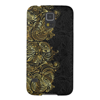 Black And Faux Gold Paisley Lace Case For Galaxy S5