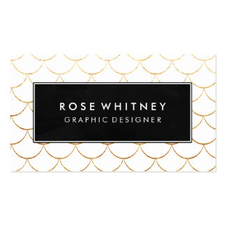 Black and Faux Gold Scallops Business Card