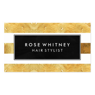 Black and Faux Gold Stripes Creative Business Card