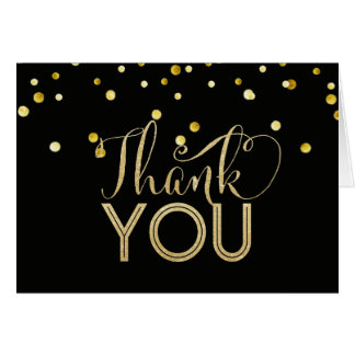 Black and Faux Gold Thank You Cards